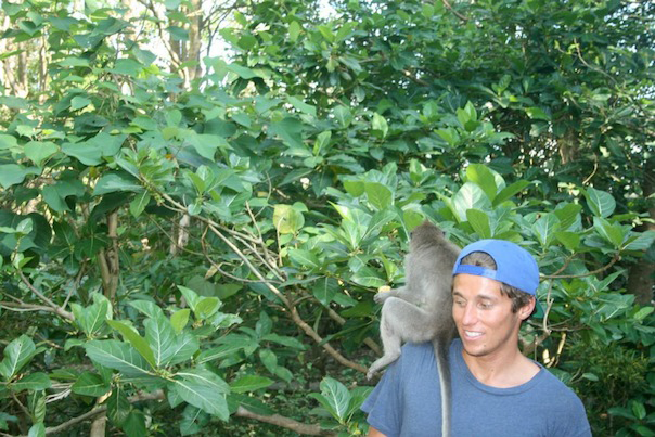 Evan with monkey in Ubud, Bali