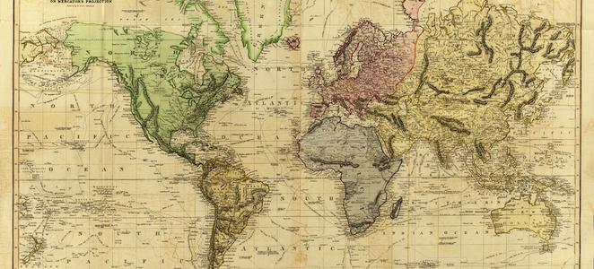 1814 world map
