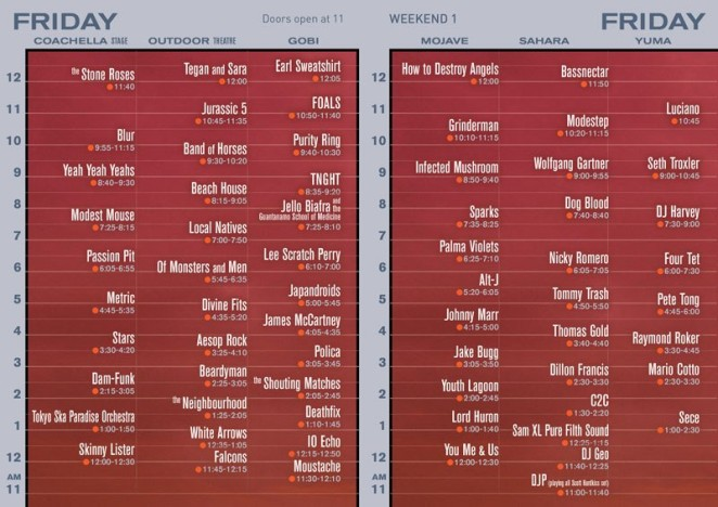 Coachella 2013 Friday Set times official