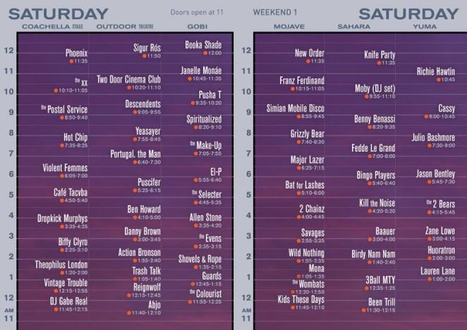 Coachella 2013 set times official