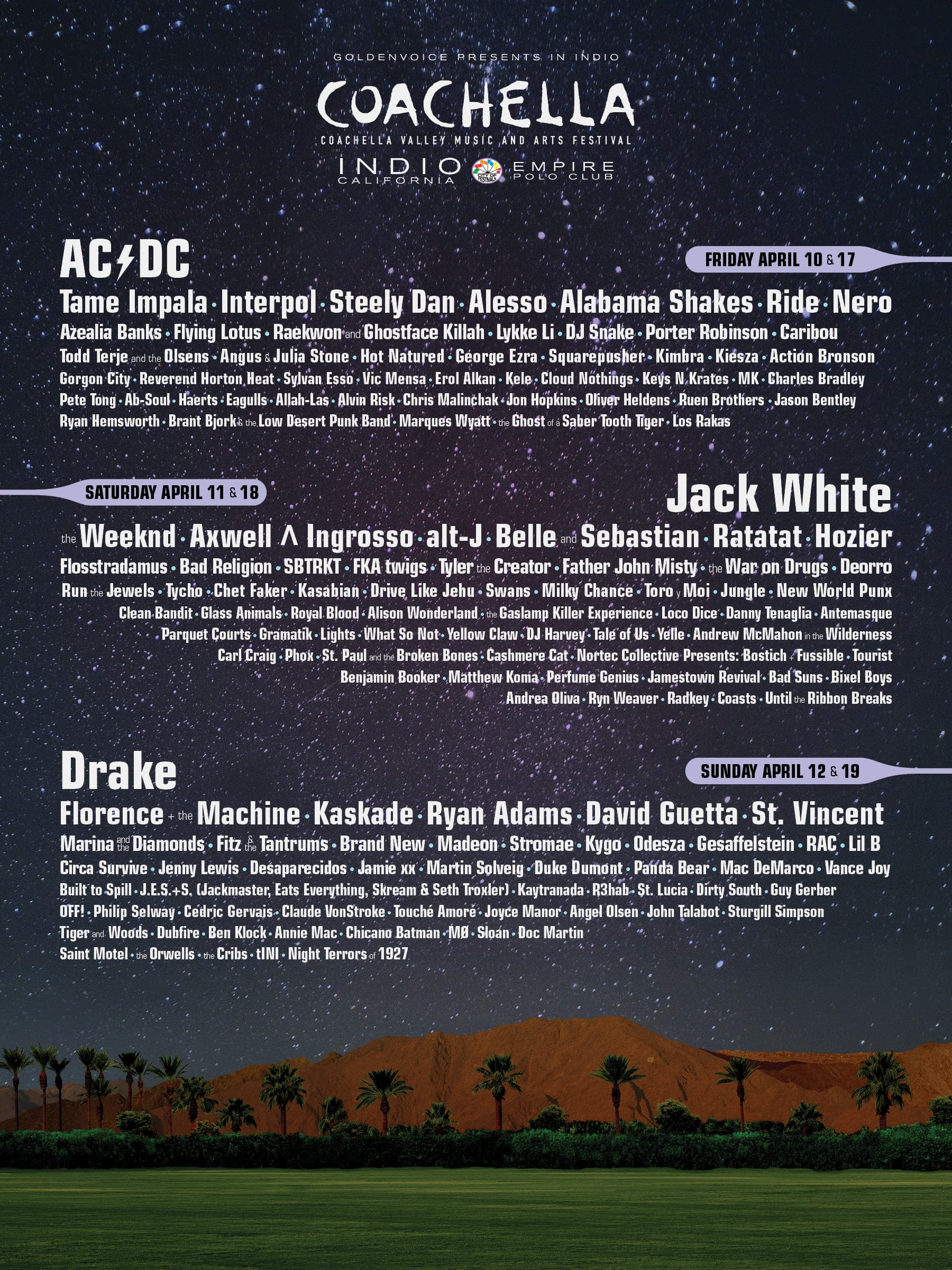 Coachella: a list of every lineup, artist and poster