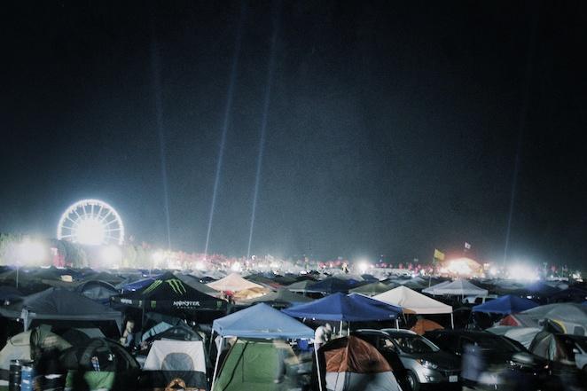 Coachella campgrounds at night