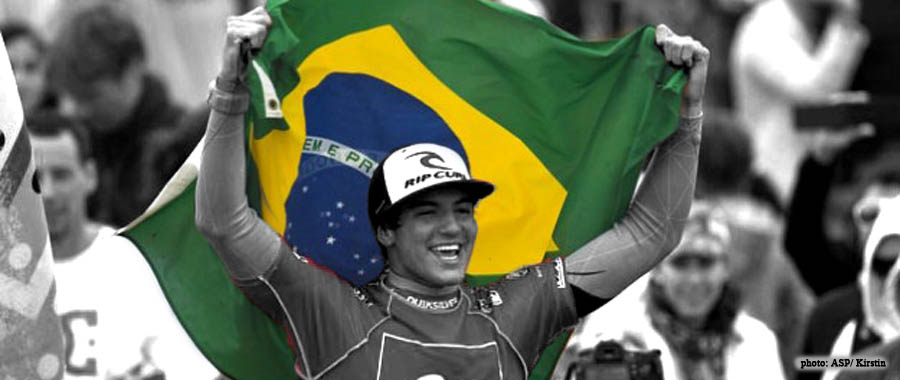 Gabe Medina holding Brazilian Flag