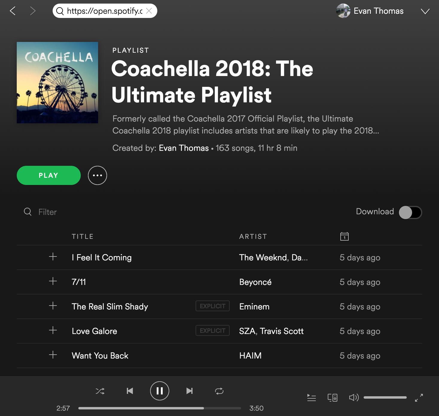 2018: Coachella 2018 Playlist On Spotify