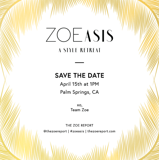 poster and address for the ZOEasis style retreat in Palm Springs California