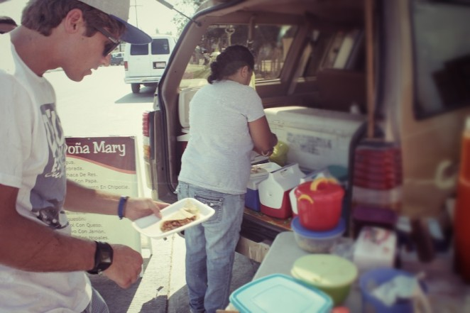 Evan ordering a delicious meal from a street vendor