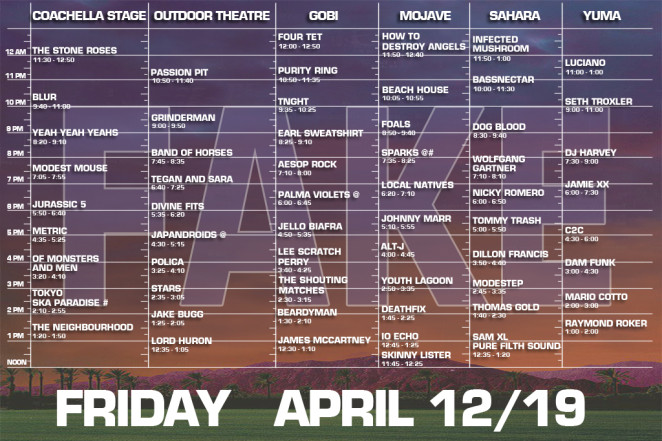 coachella 2013 Friday set times fake