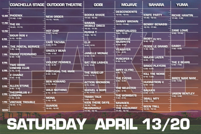 coachella 2013 saturday set times fake
