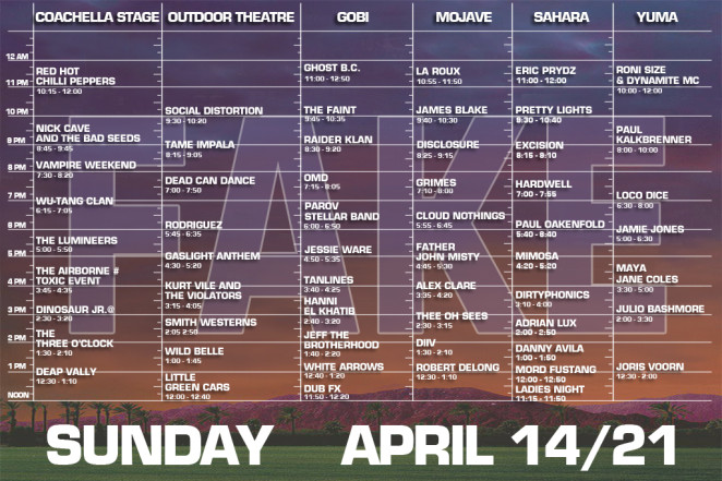 coachella 2013 sunday set times fake
