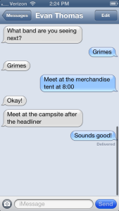 text message at coachella