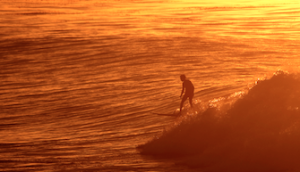 surfer at devereux sunset