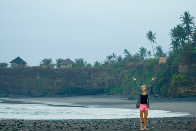 girl on beach in balian