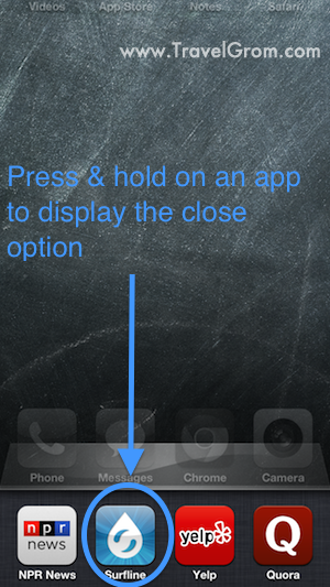 Press and hold an icon to display the close option
