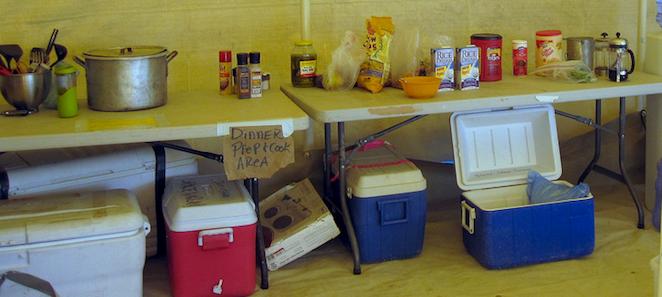 kitchen setup at burning man