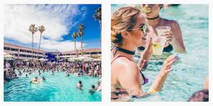 Girl in pool at Hard Rock hotel Palm Springs