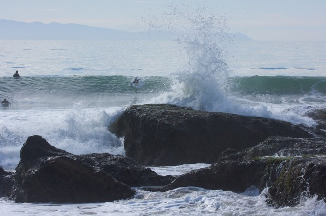 rock at campus point ucsb surfing
