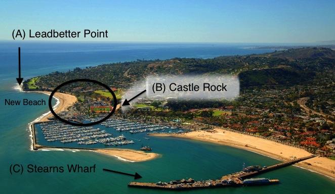 santa barbara harbor aerial view