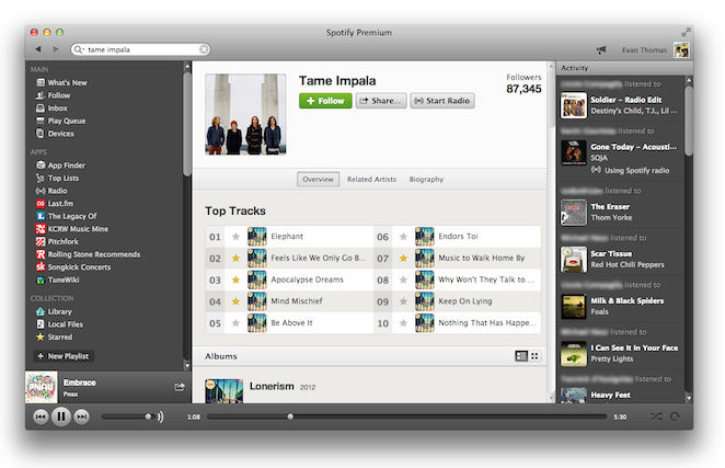 spotify user interface ui