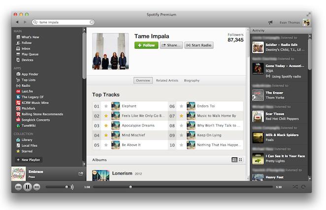 spotify user interface ui