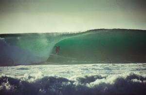 Barreling left wave at Tarantula's, Jalama